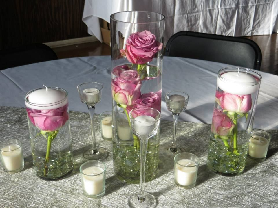 Wedding Receptions Centerpieces Submerged Roses In Cylinder Vases 7