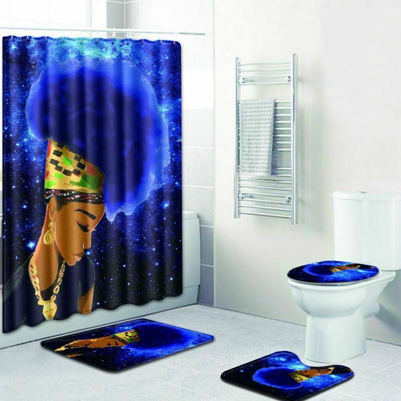 African Queen Bathroom Fashion Shower Curtain Toilet Seat Cover