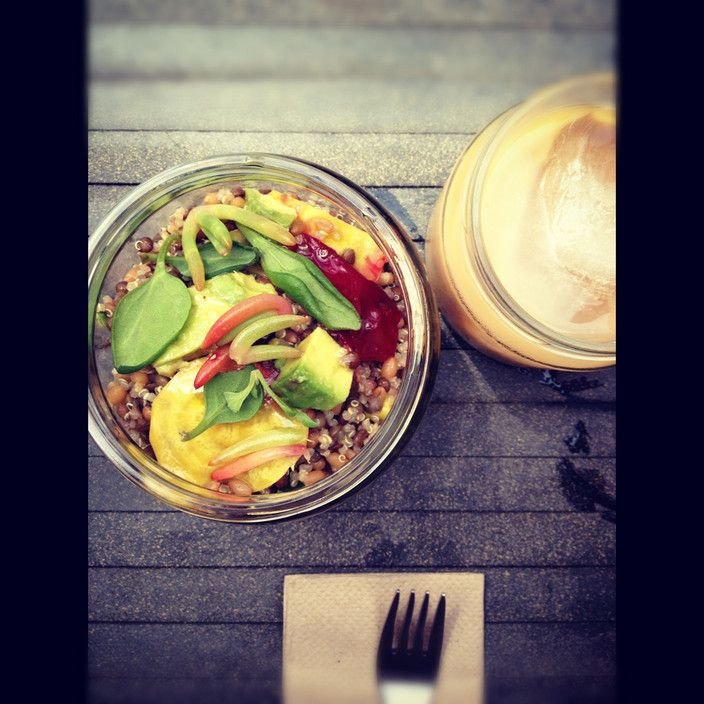 4 grains salad and ice coffee at Silo By Joost, Melbourne VIC #australia #travel
