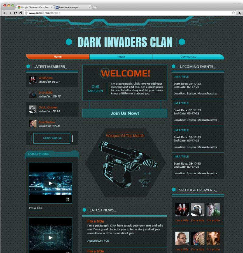 Gaming Clan Wix Website Templates Pinterest Template Website - Clan website templates