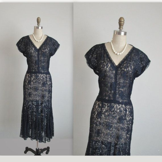 40's Lace Dress // Vintage 1940's Navy Lace Sheer Peekaboo Dress M As Is