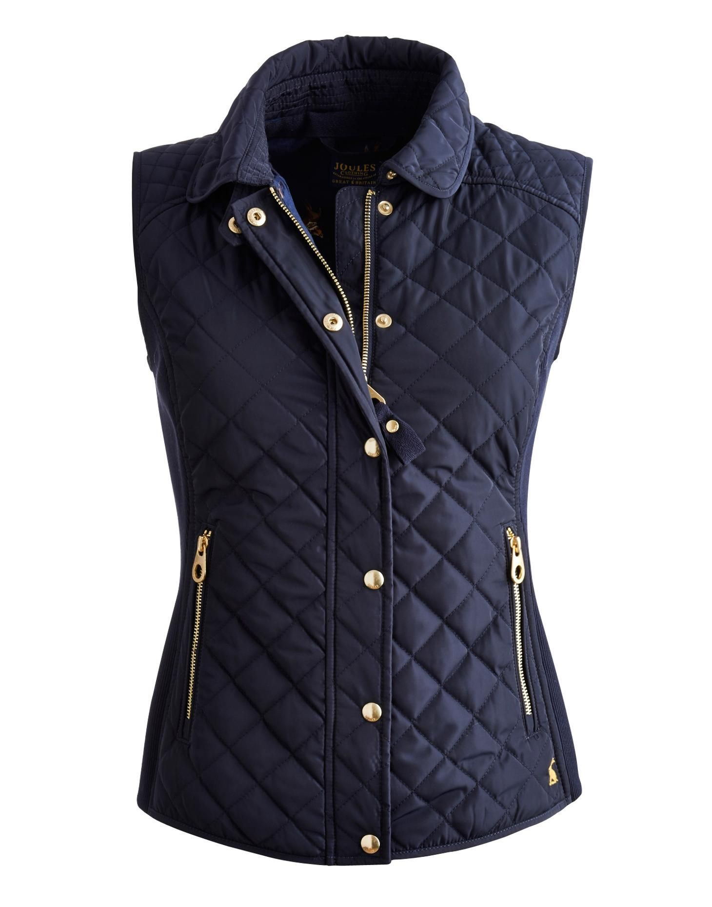Joules Womens Slim Fit Quilted Vest Marine Navy When The