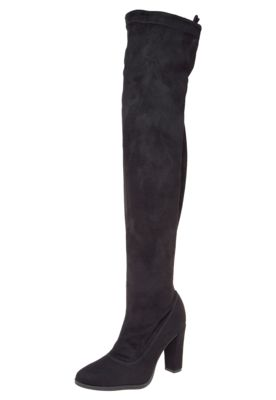 20b466197b Bota Bebecê Over The Knee Salto Alto Preta, com bico redondo, cabedal com  acabamento em suede e modelo over knee. Possui ajuste por amarração e  fechamento ...