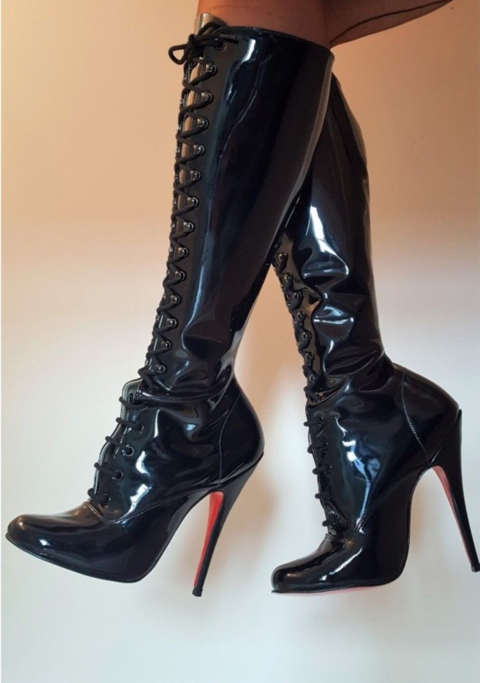 a478ab3af6c77 Plastic Boots, Black Leather Gloves, High Heels Stilettos, Stiletto Heels,  Sexy Boots