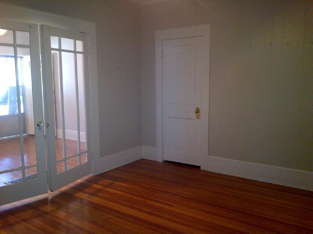 Better view of second closet and French doors.