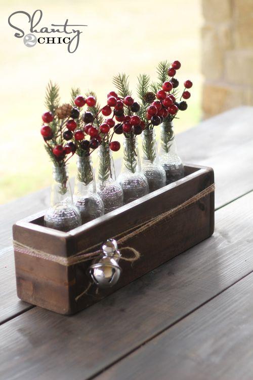 Christmas centerpiece soda bottle crate centerpieces bottle rustic box centerpiece or perfect for a windowsill junglespirit Images