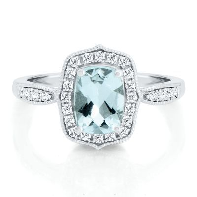 Aquamarine Lab Created White Sapphire Ring In 10k White Gold March Birthstone Jewelry Helzberg Diamonds White Sapphire Ring