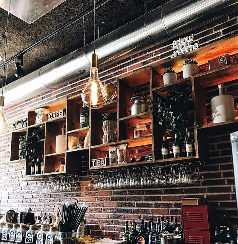vintage industrial coffee shop