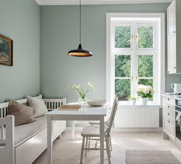 Scandinavian Kitchen In Green, Stone & White (Debra