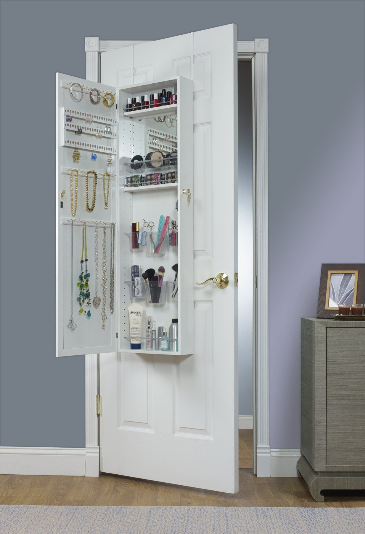 Mirrotek Over The Door Combination Jewelry And Makeup Armoire White