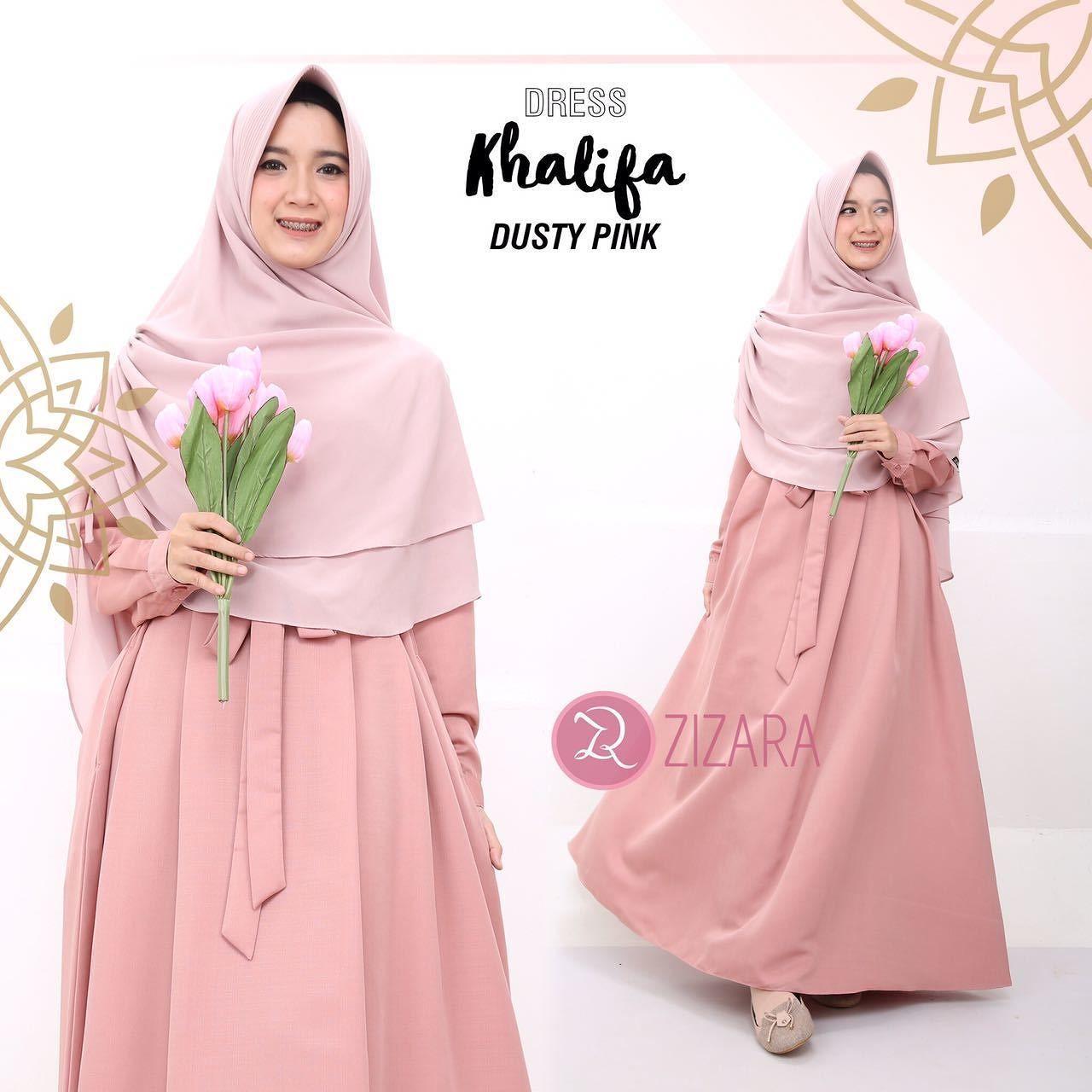 Gamis Zizara Khalifa Dress Dusty Pink - baju muslimah busana muslim Kini  hadir untukmu yang cantik 88deb303f6