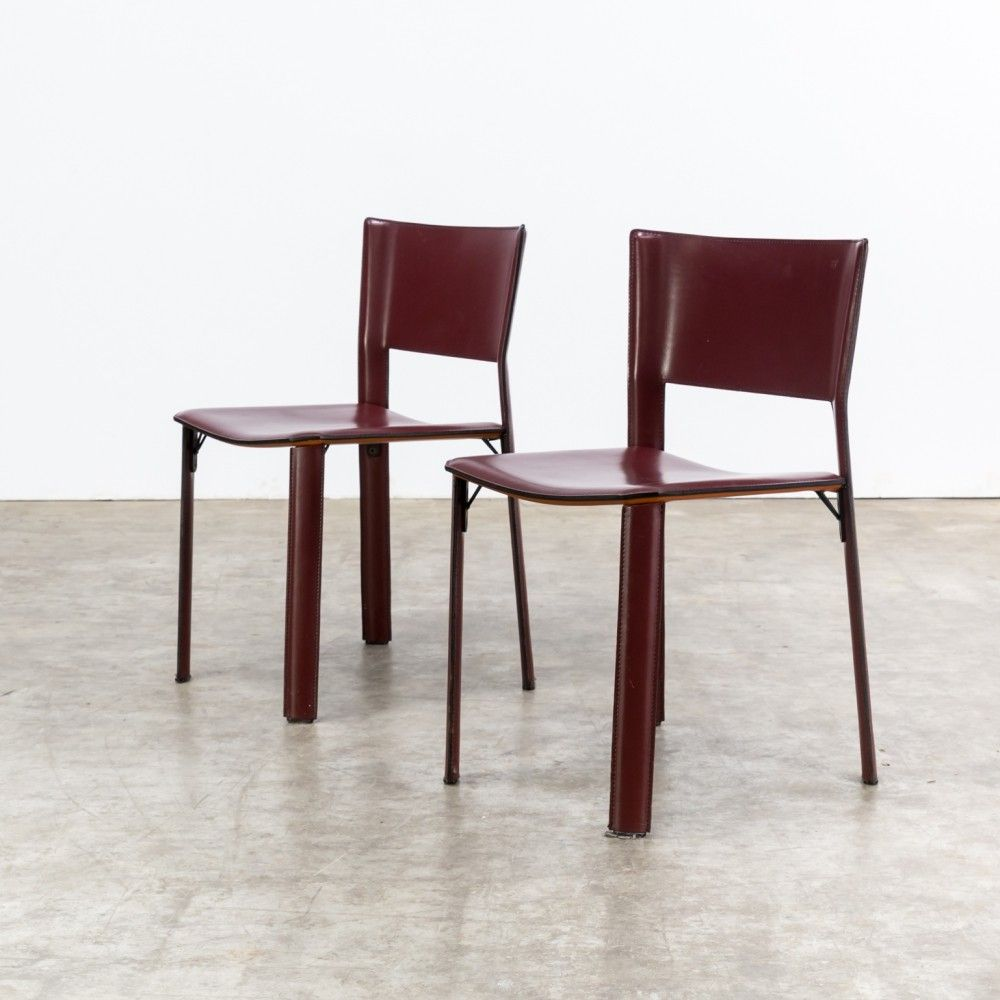 Pair of S91 dinner chairs by Giancarlo Vegni for Fasem