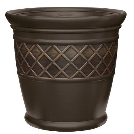 3febdc6aad4ee92e1454a0793c0780a4 - Better Homes And Gardens 18 Weathered Lattice Planter Chocolate
