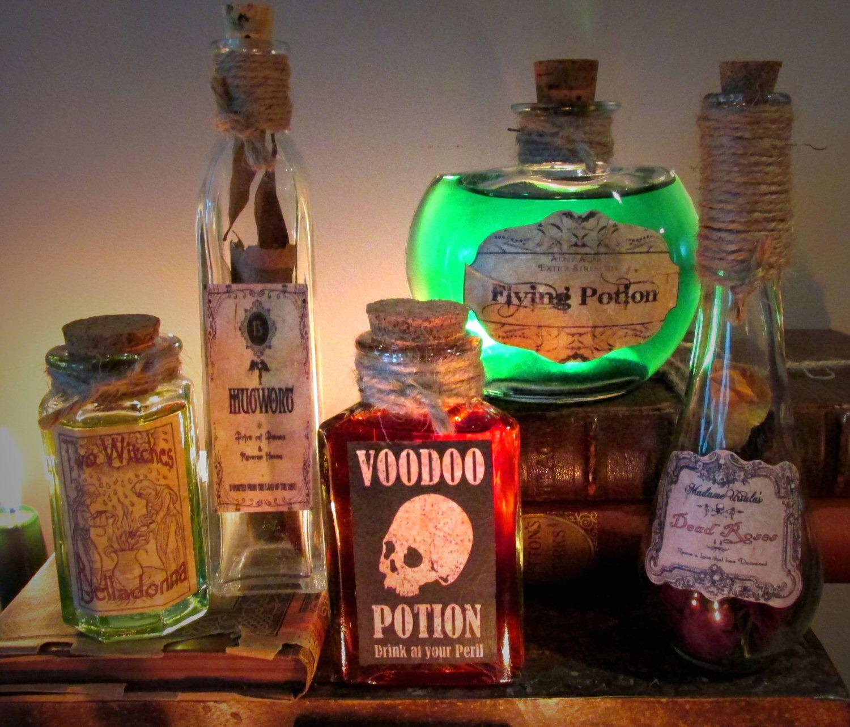 Halloween Decorations Potion Bottles 5 Potion Bottles Halloween Decoration Prop #l3 Voodoo Belladonna