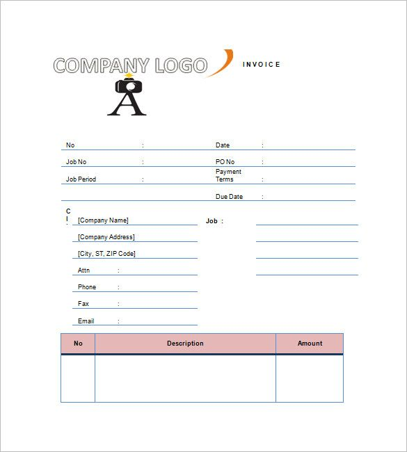 Photography Invoice Template   Free Word Excel Pdf Format