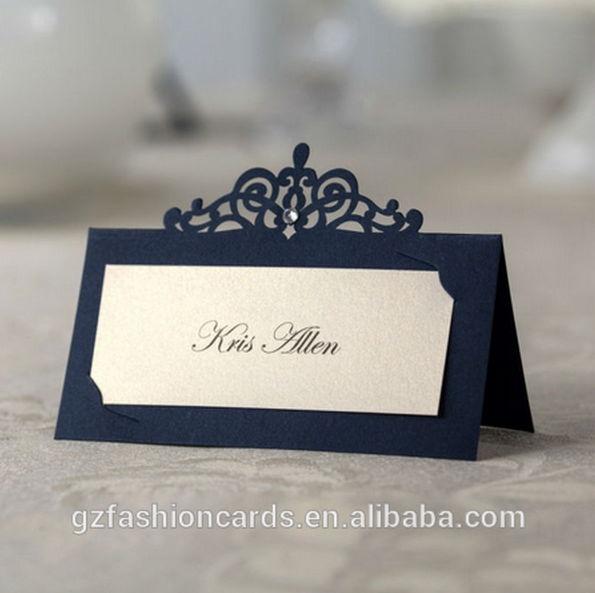 Wedding Decoration Table Setting Cards | Navy Blue Laser Cut Name ...
