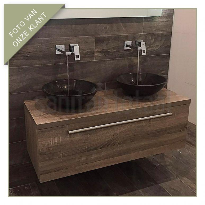 Landelijk badkamermeubel, natuurstenen waskommen, inbouwkranen ...
