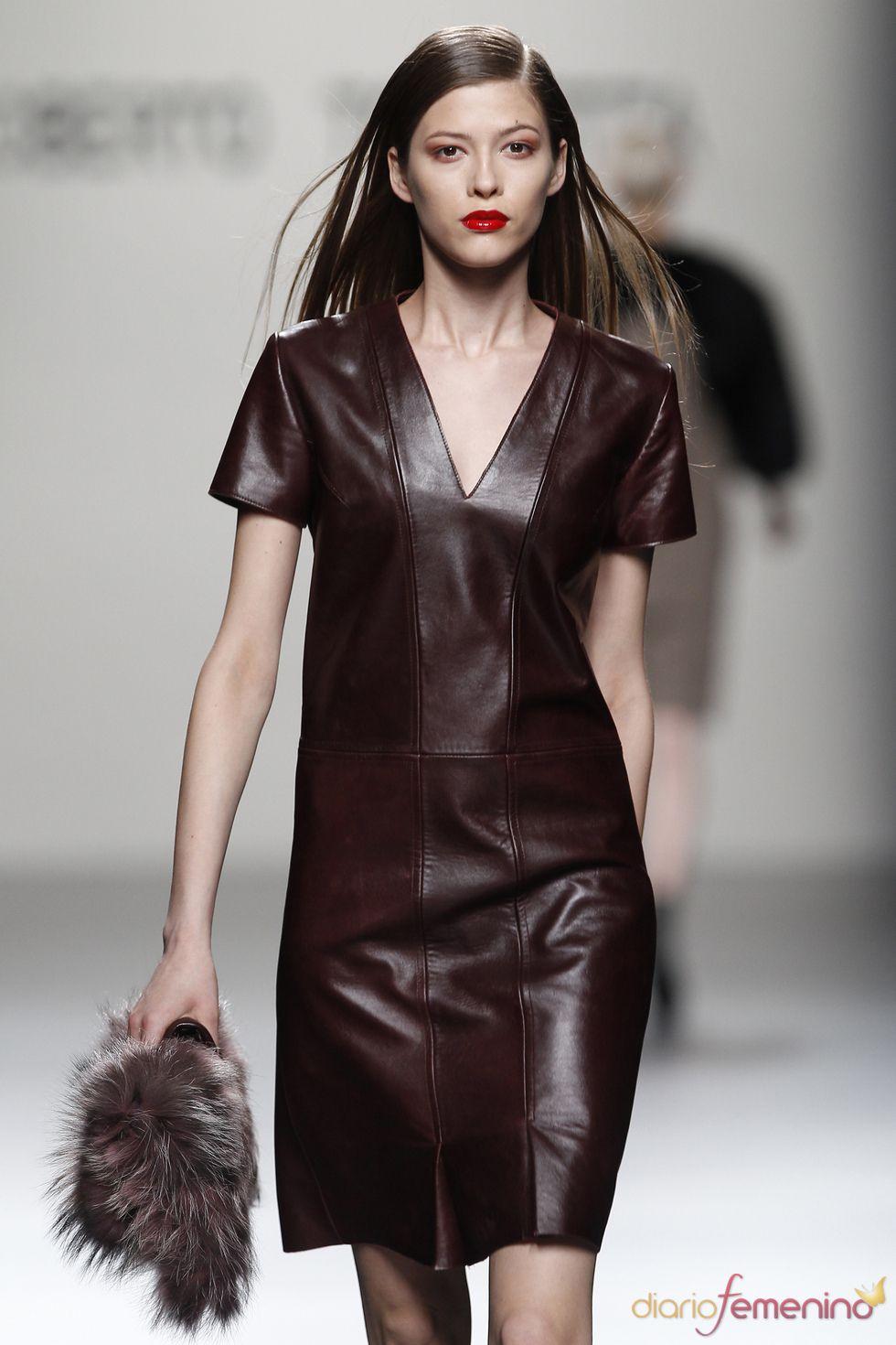 Brown leather dress runway fashion leather fashion pinterest