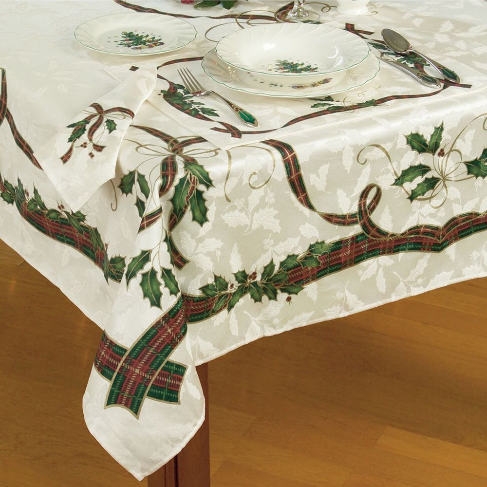 Lenox Holiday Nouveau Christmas Tablecloth 60 X 84 Oblong Rectangular Lenox Christmas Table Cloth Table Cloth Lenox Christmas