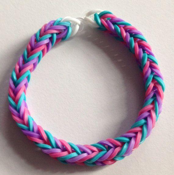 blue Red yellow rainbow loom origami bracelet.