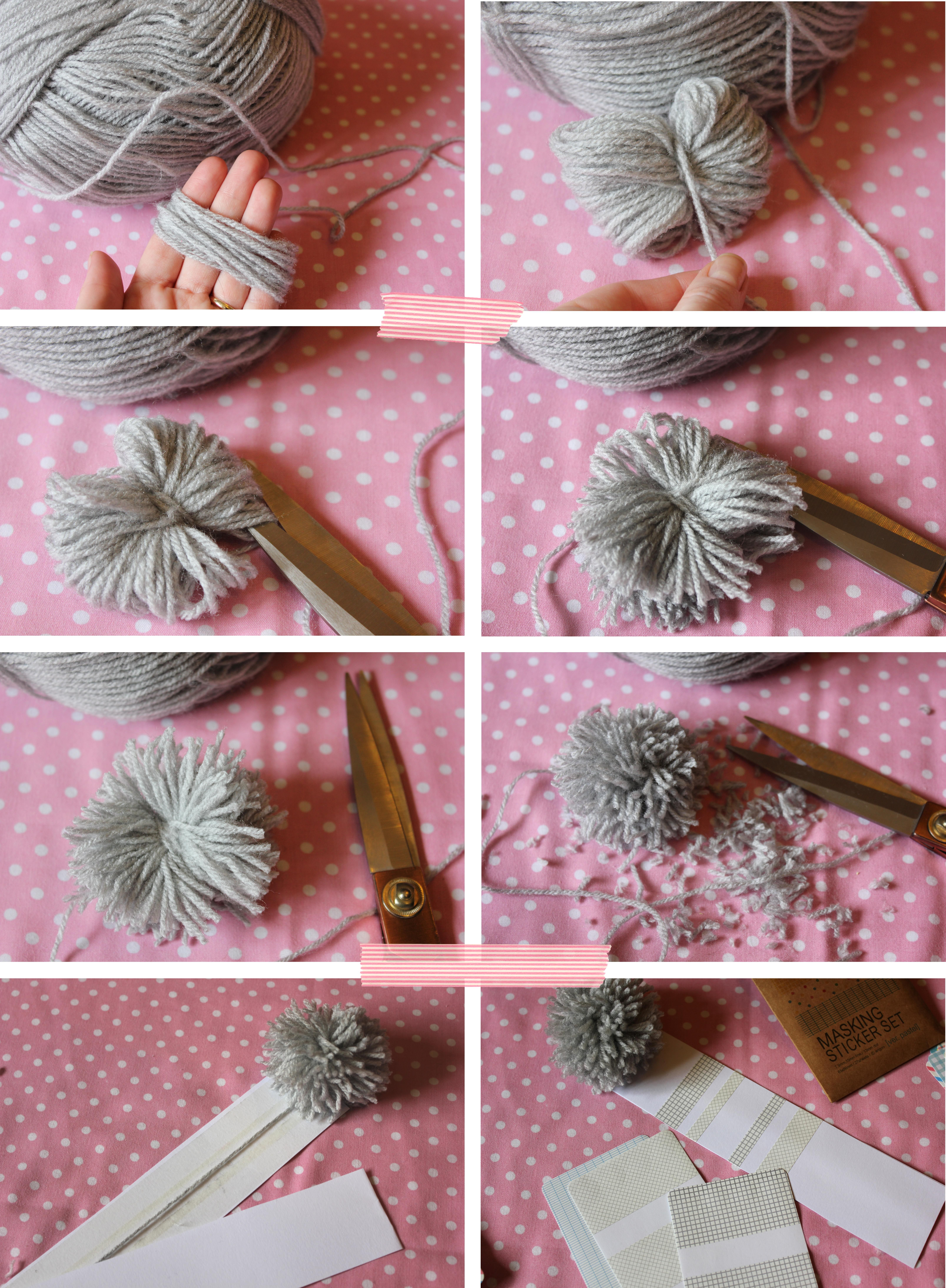 Craft pom poms in bulk - Diy Craft Tutorial Make A Pom Pom Bookmark From Wool Card