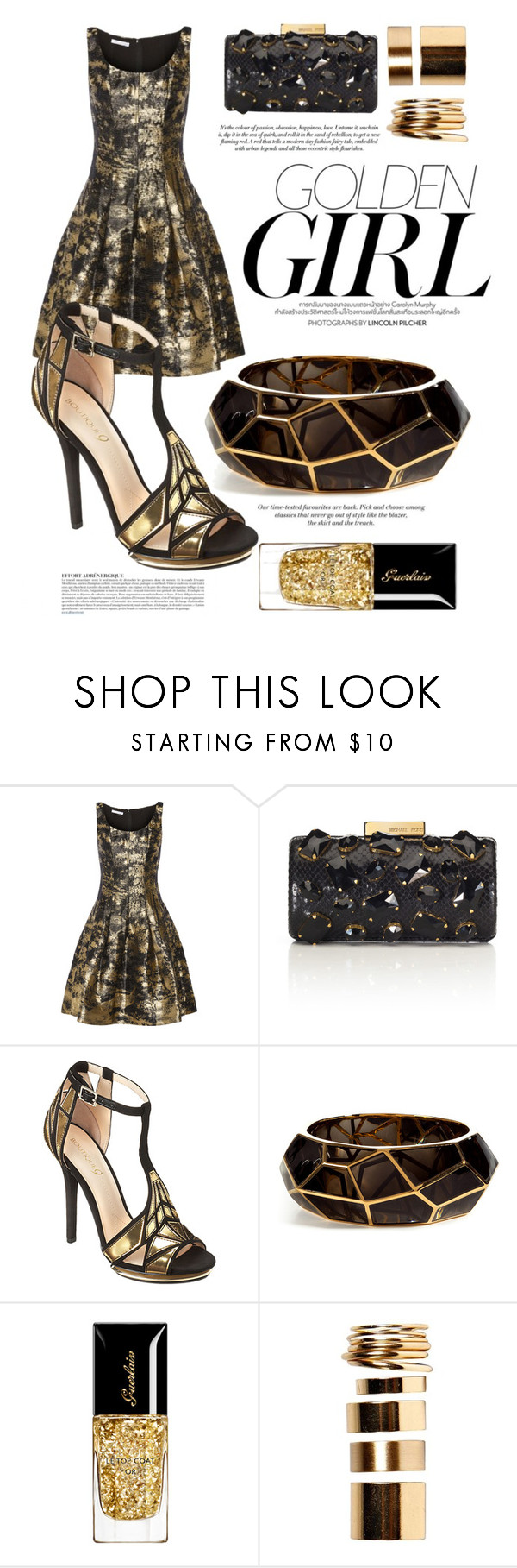 """Golden Girl"" by aisha-fitriyah ❤ liked on Polyvore featuring Murphy, Oscar de la Renta, Michael Kors, Nine West, Lucas Jack, Anja, H&M and Boohoo"