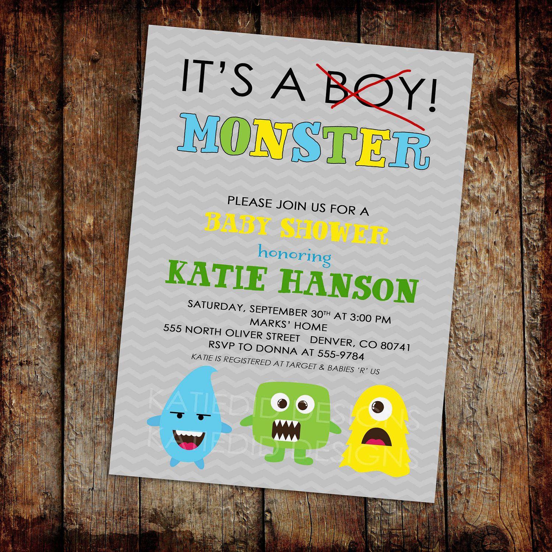Little Monster Baby Boy Shower Invitation Birthday Twins