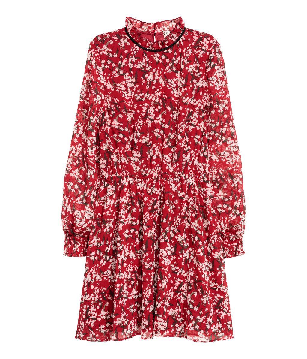 872d11b9dd1e Mørkerød Blomstret. Knælang kjole i tynd