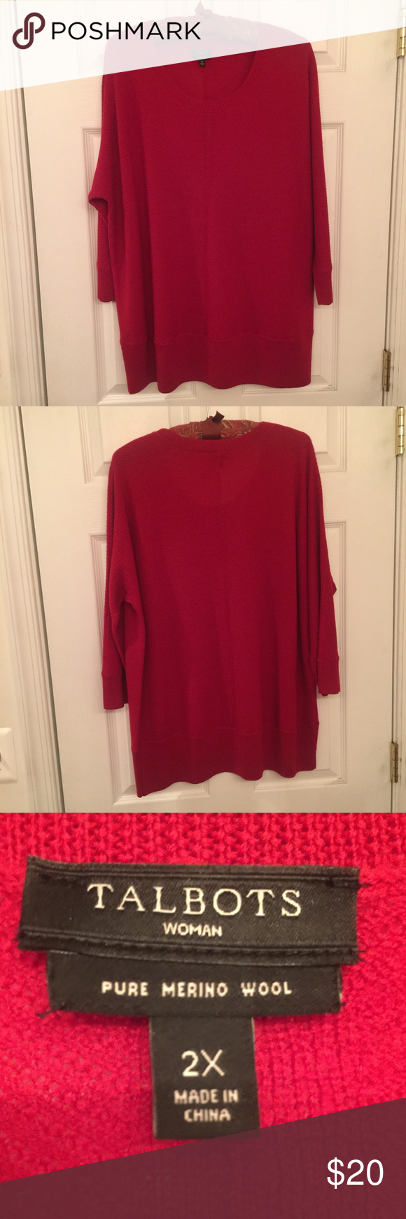 NEW Talbots Woman Merino Wool Sweater, Size 2X NWOT Talbots Woman sweater in red, Size 2X. 100% merino wool in looser knit, perfect for Spring. Never worn. Machine washable. Talbots Sweaters Crew & Scoop Necks