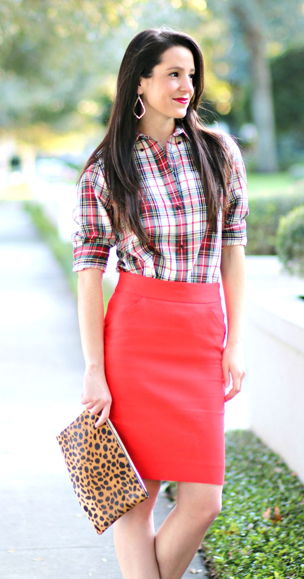 Dress with flannel around waist  How to Wear a Red Pencil Skirt to Work  Classic Dressing