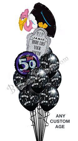 Custom Name Age Buzzard Birthday Balloon Bouquet 11 Balloons