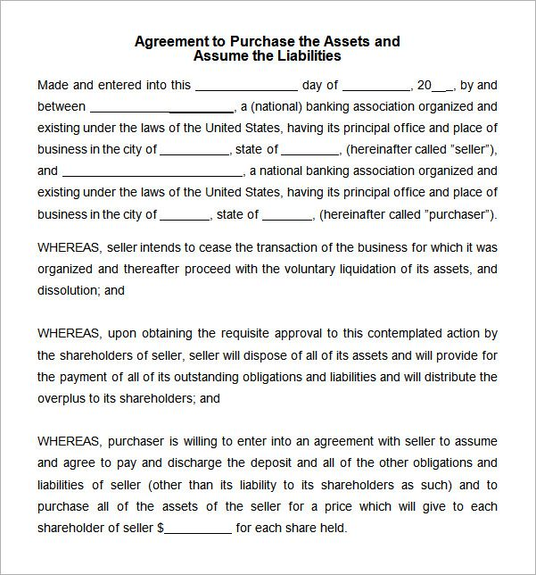 asset purchase agreement template Word Agreement Pinterest - loan contract example
