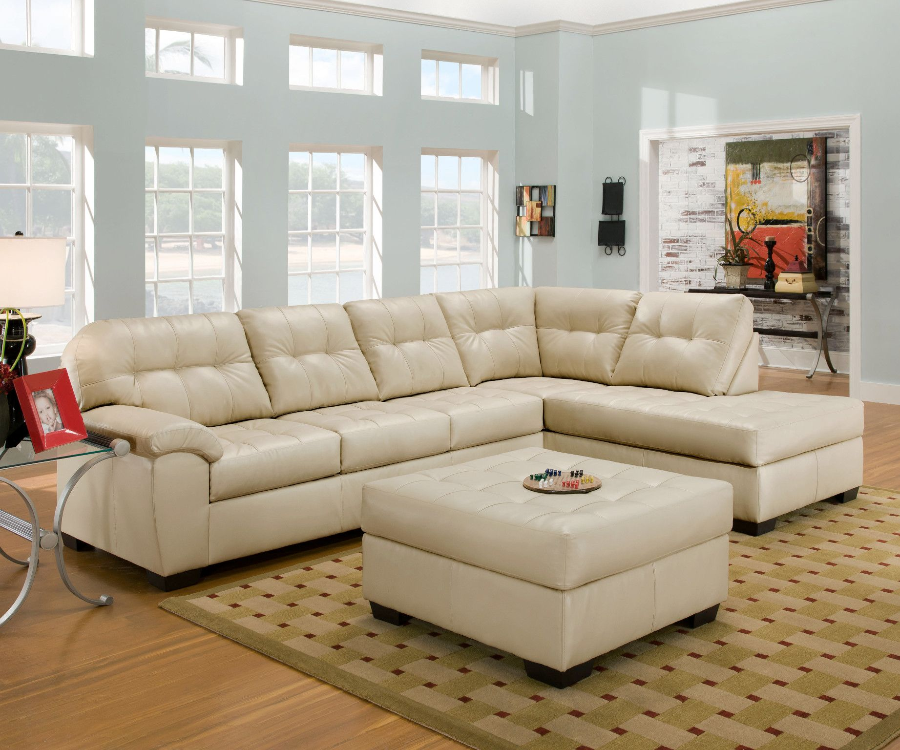 2 Piece Sectional Sofa In Soho Pearl Natural Cream Bonded Leather 899 00 Sofa 9 Sectional Sofa Couch Sectional Sofa With Chaise Leather Sectional Sofas