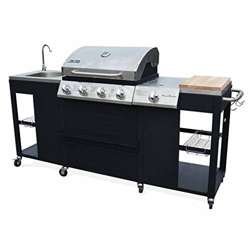 Alice s Garden Barbecue cuisine extérieure gaz - D Artagnan - Barbecue 4  brûleurs 1 feu latéral inox et noir évier planche à découper bois  ustensiles ... fa9925b68b52