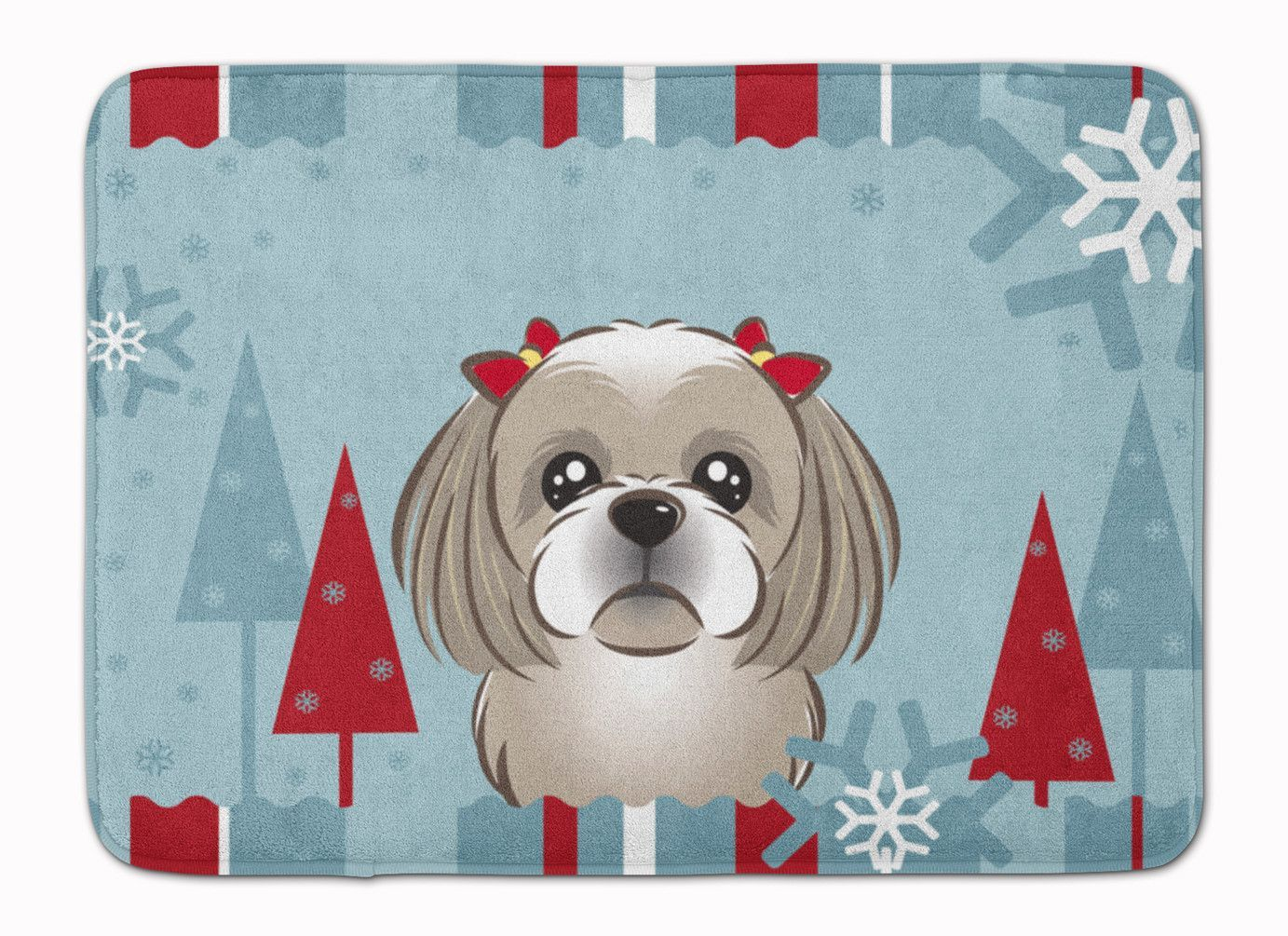 Memory foam for crafts - Winter Holiday Gray Silver Shih Tzu Machine Washable Memory Foam Mat Bb1746rug
