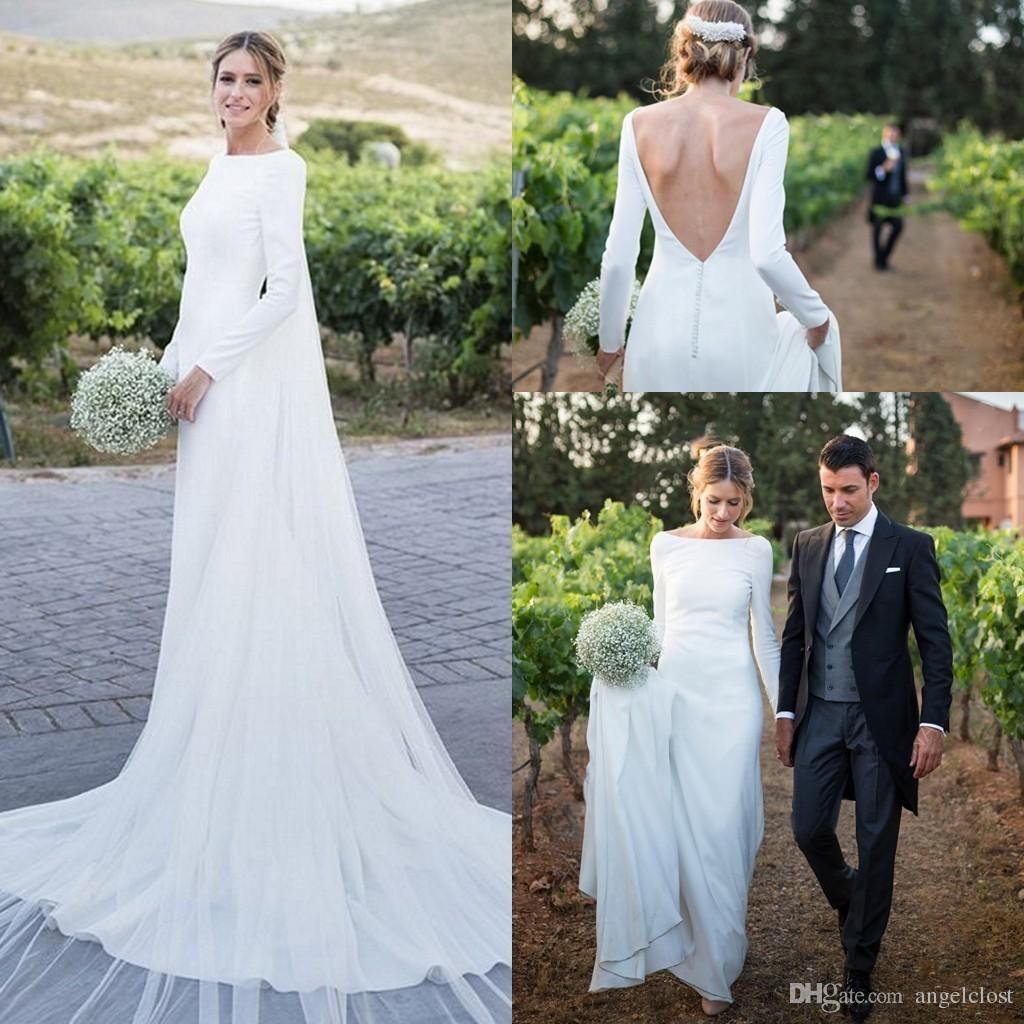 Simple Long Sleeve Mermaid Wedding Dresses 2018 Bateau Bateau Sweep Train Long Chapel Count Column Wedding Dress Cheap Simple Wedding Dress Plain Wedding Dress
