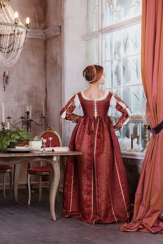 Renaissance rote Frau Kleid italienische Mode 15. Anfang ...