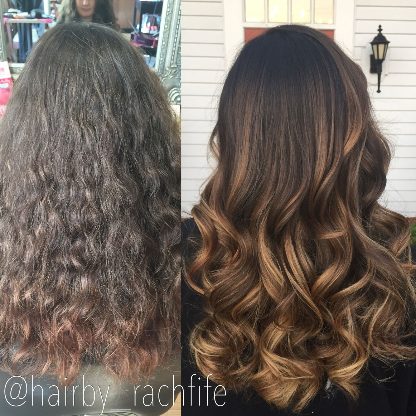 Amazing before and after. Dark to warm colormelt balayage ombre. hair by Rachel Fife @ SF Salon