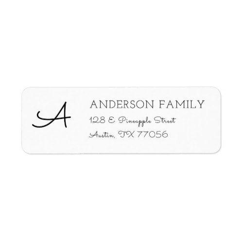 modern custom family monogram return address label minimal style