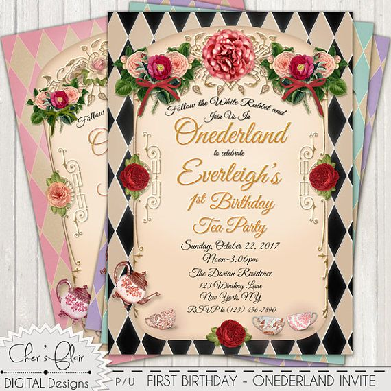 Onederland tea party birthday invitation 1st birthday tea first onederland tea party birthday invitation 1st birthday tea filmwisefo