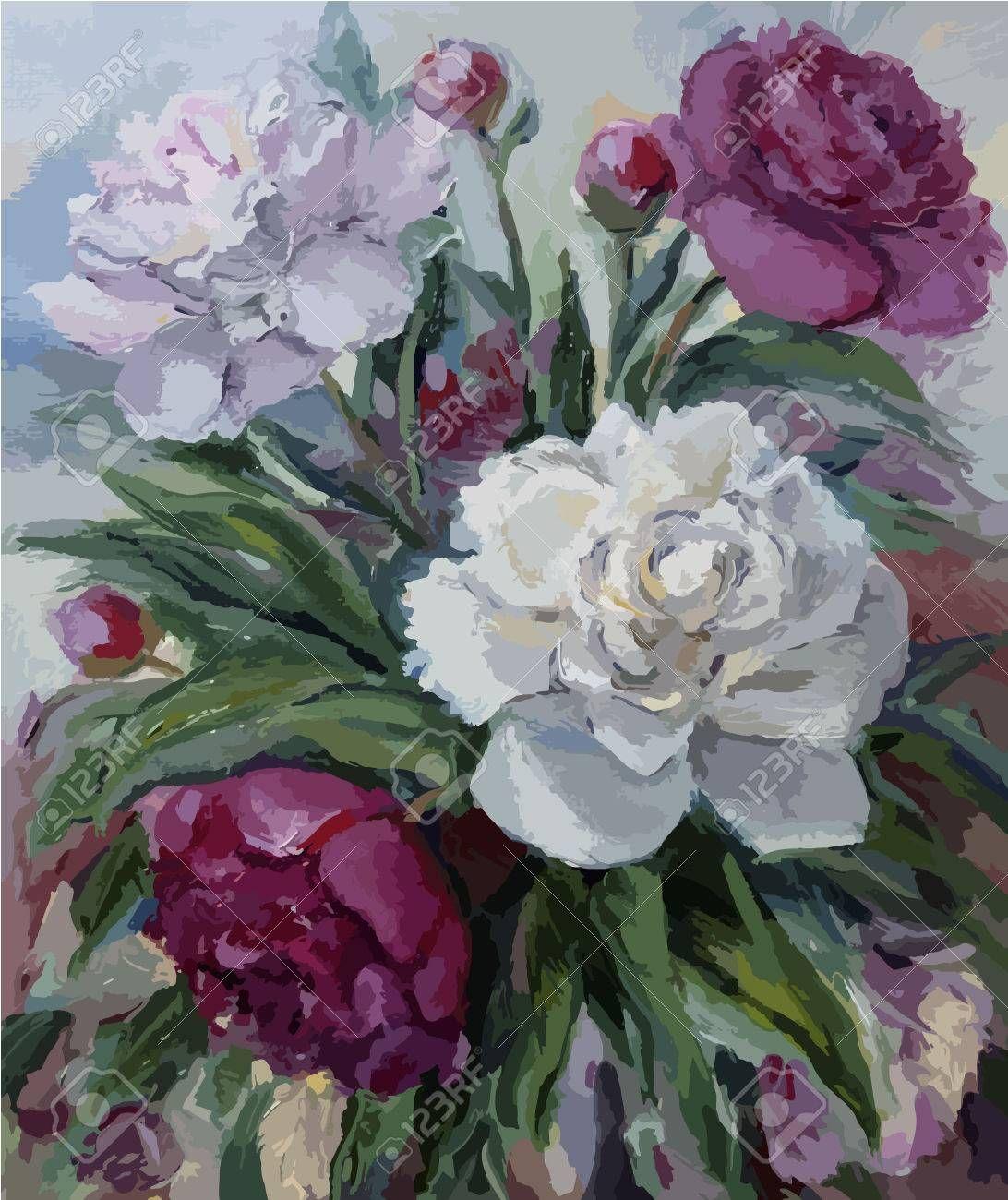 Stock Photo En 2020 Pivoine Peinture Fleurs Et Peinture