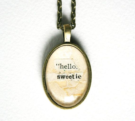 Romantic quote gift. Doctor Who jewelry. Upcycled by crankyhayes