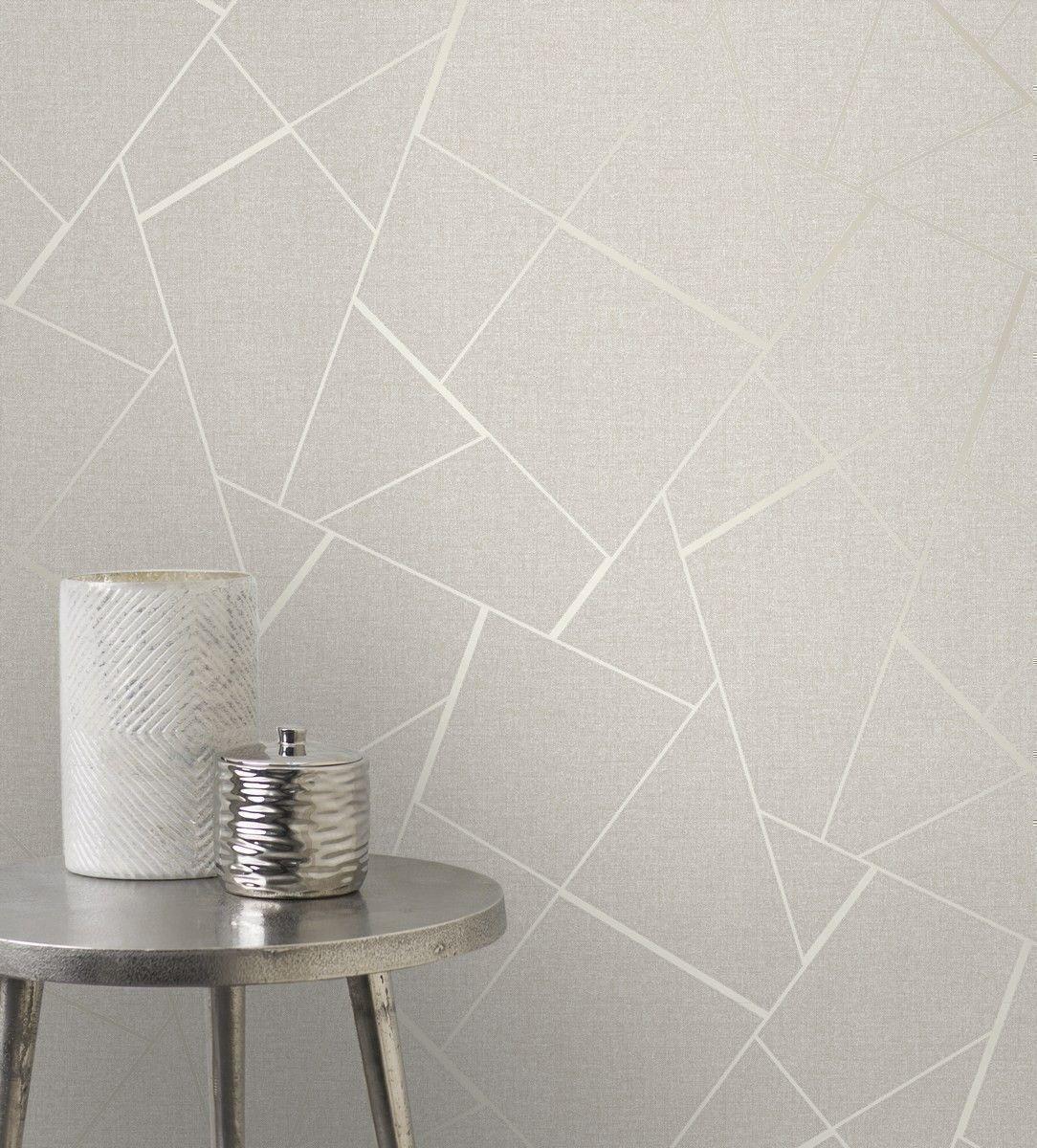 The Glittery World Of Silver Bedroom Ideas: Quartz Shatter Geometric Cream Wallpaper By Fine Decor