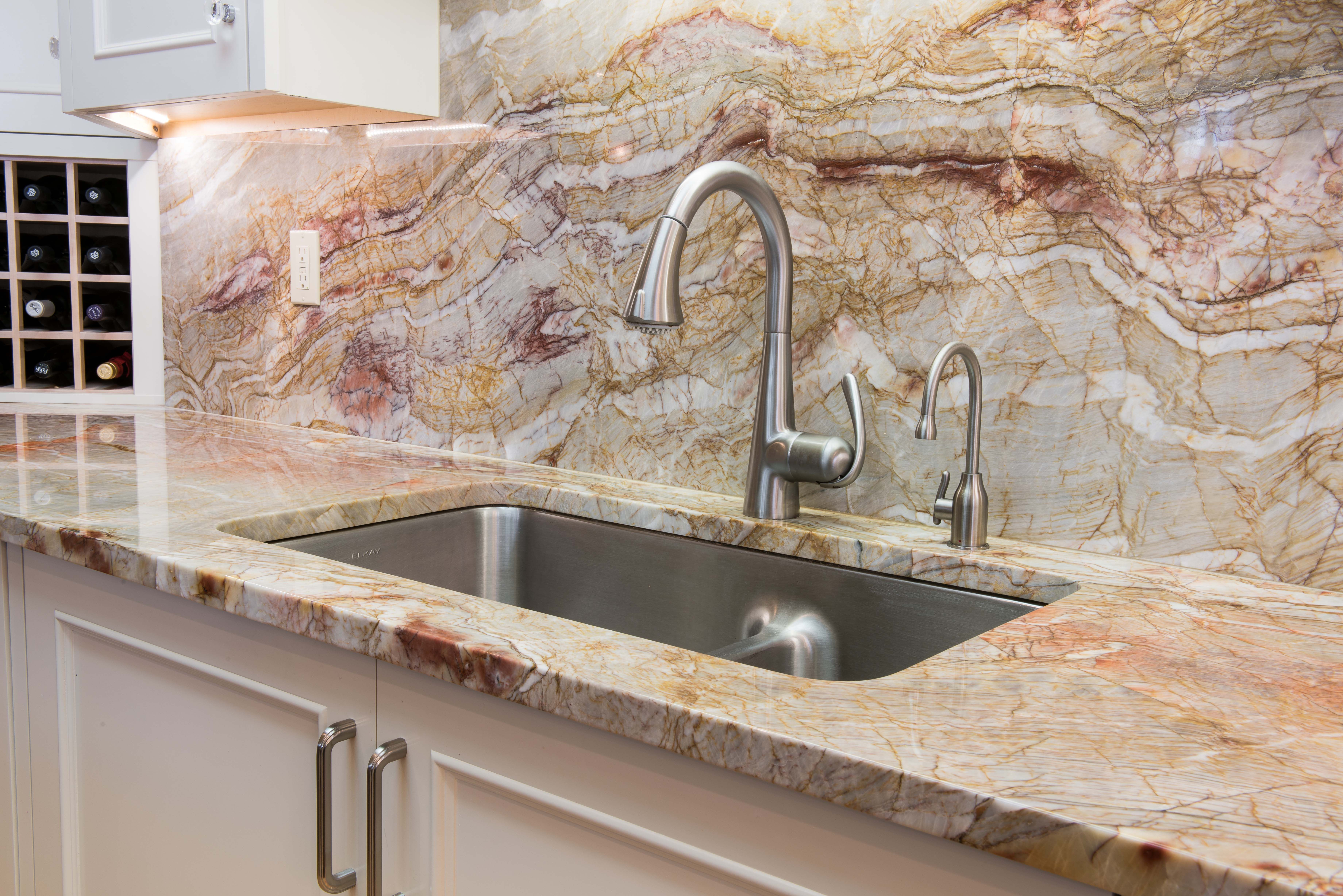 Traditional Kitchen Onyx Slab Countertop And Backsplash Stainless Steel Sink Montana Tile Ston Stainless Backsplash Kitchen Must Haves Traditional Kitchen
