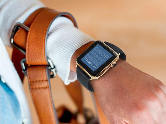 Young Woman Wearing a Apple Watch and a Handbag Mockup