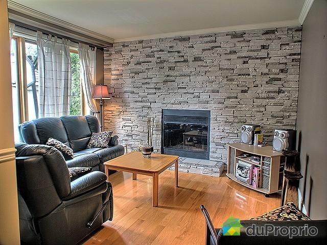 salle de sjour foyer au bois avec mur de pierres dcoratives - Bois Decoratif Pour Mur