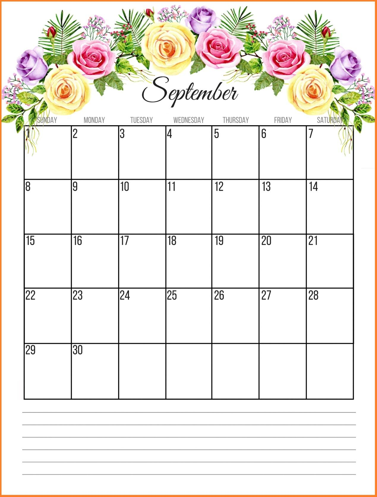 Printable Floral 2019 Monthly Calendar July Calendar Calendar