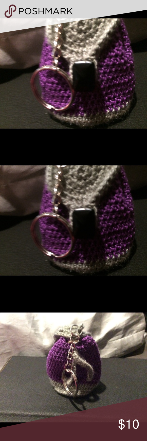 Hand crocheted backpack keychain Great for gifting money! Approximately 3 inches tall and 2 inches wide.  Opens to hold small items. Jewelry #crochetformoney