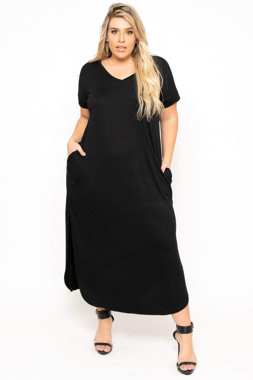 Maxi T-Shirt Dress - Black1X / Black in 2021   Black shirt dress ...