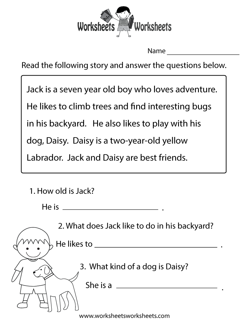 Worksheets Comprehension Passages For Grade 1 reading comprehension practice worksheet printable joys of printable
